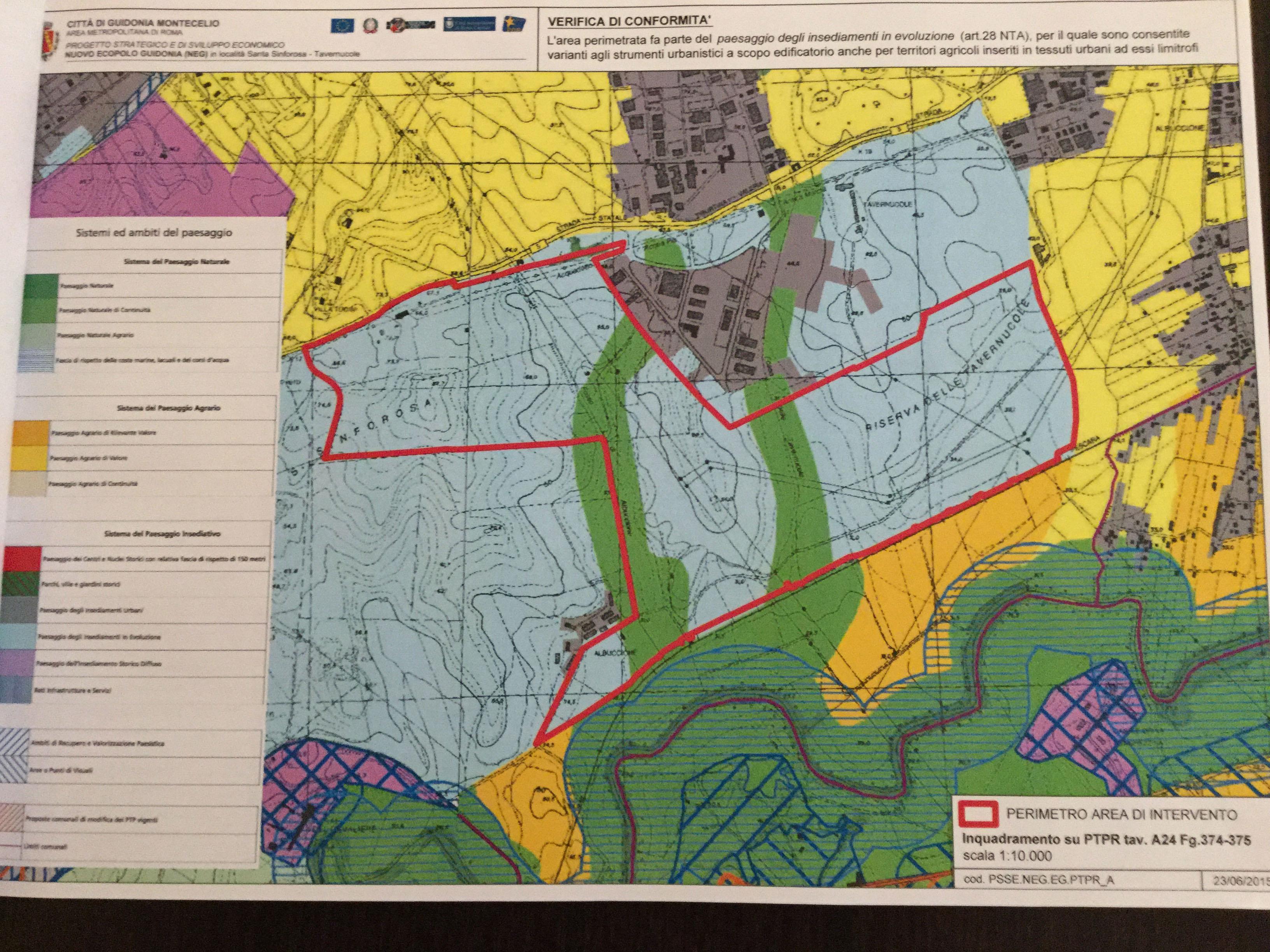 Il rosso delimita i 155 ettari confinanti con l'Aniene, Santa Sinforosa e i mercati generali
