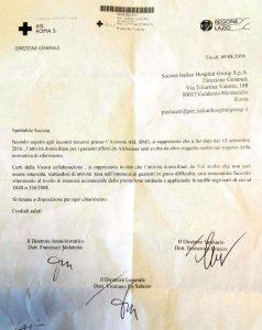 La comunicazione della Asl Rm5 all'Ihg