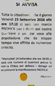 L'avviso della manifestazione del 23 settembre